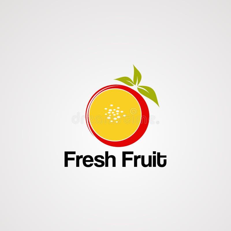 Vecteur, ic?ne, ?l?ment, et calibre de logo de fruit frais illustration de vecteur