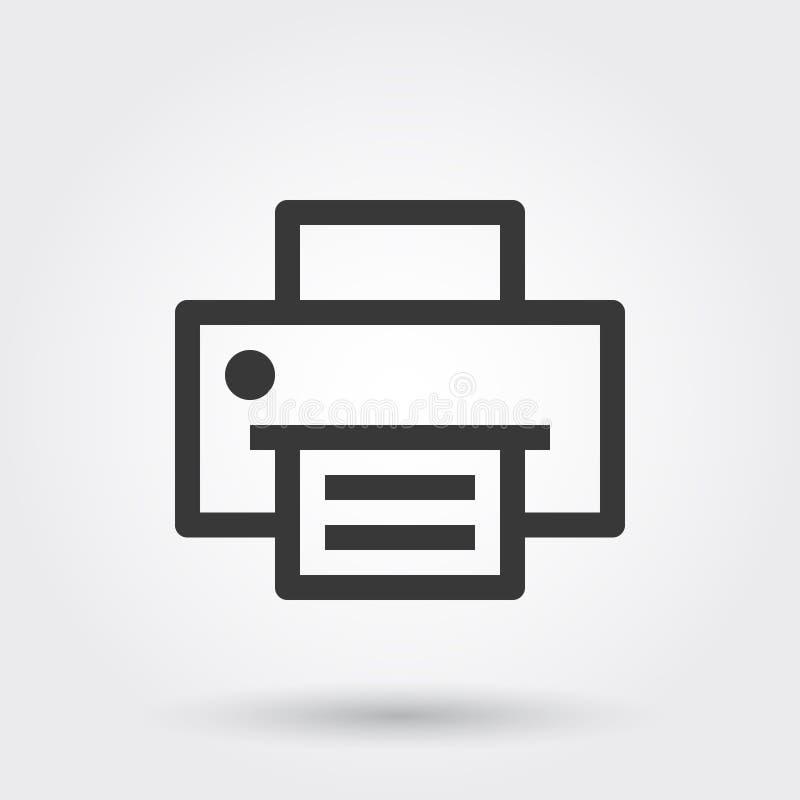 Vecteur, imprimante, copie, ligne d'impression icône avec l'ombre illustration libre de droits
