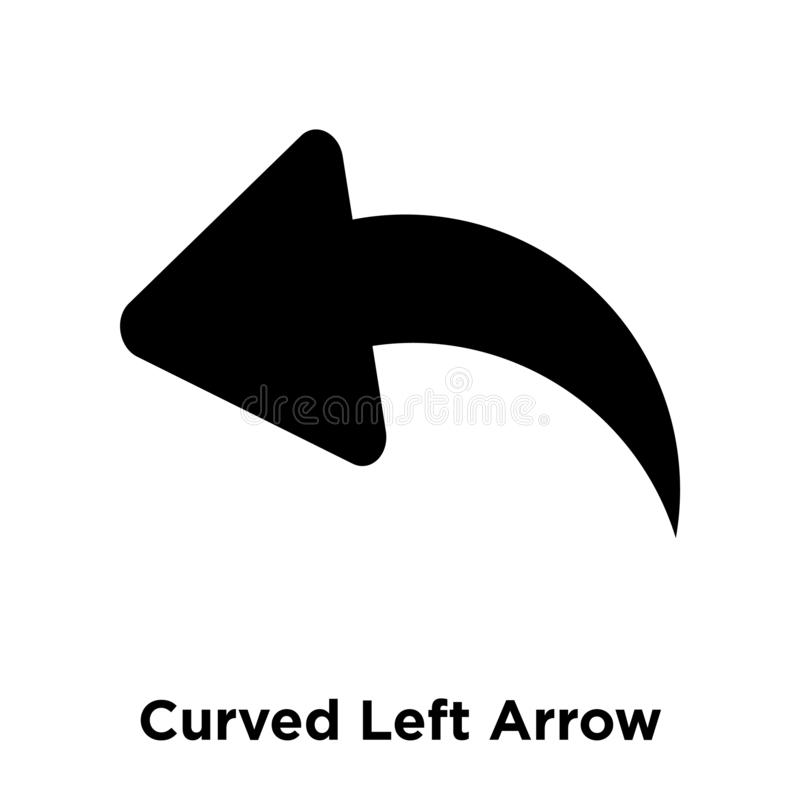 Vecteur incurvé d'icône de flèche gauche d'isolement sur le fond blanc, logo illustration stock