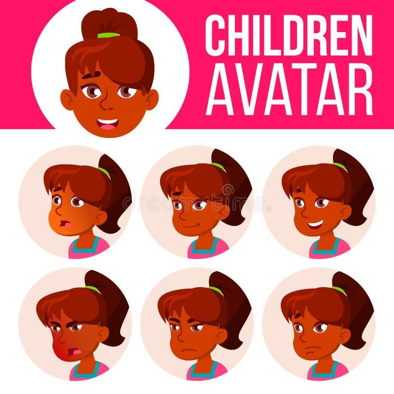 Vecteur indien d'enfant d'ensemble d'avatar de fille Lycée Faites face aux émotions Utilisateur, caractère Acclamation, assez Ill illustration stock