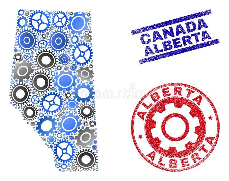 Vecteur industriel Alberta Province Map de collage et timbres grunges illustration stock