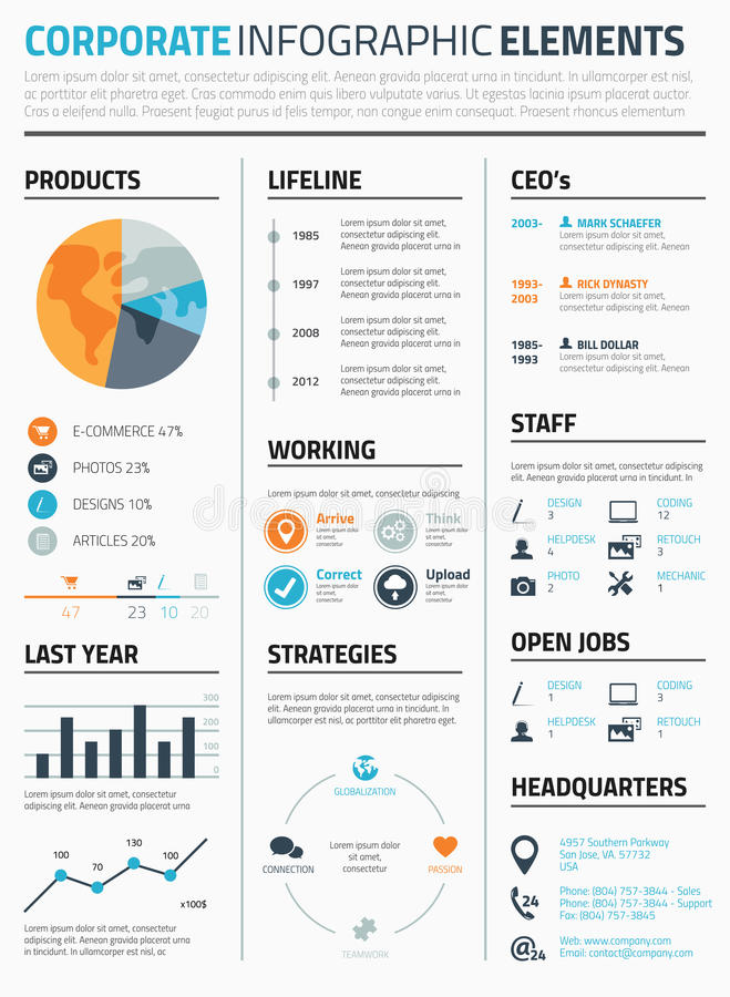 Vecteur infographic d'entreprise de calibre d'éléments illustration libre de droits