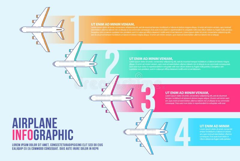 Vecteur infographic de calibre de conception de bannière d'avion, chronologie, ligne aérienne illustration libre de droits