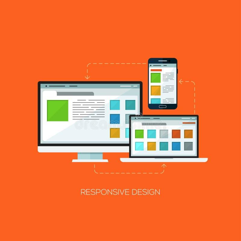 Vecteur infographic de concept d'affaires d'Internet d'application de service en ligne de technologie de Web plat sensible de con illustration stock