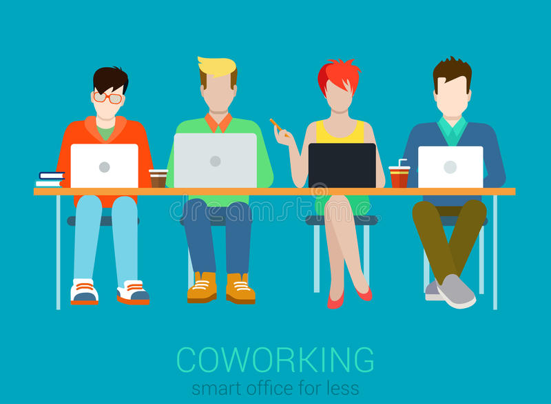 Vecteur infographic de concept de Web plat de Coworking illustration de vecteur