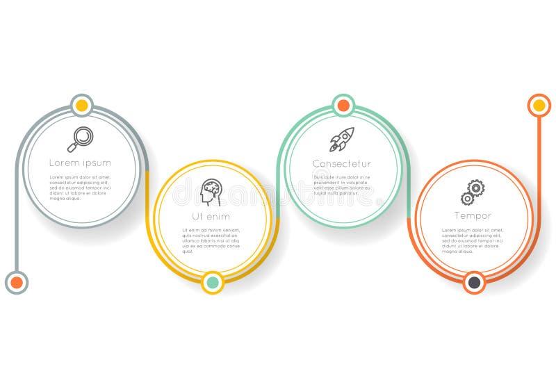 Vecteur infographic de graphique de l'information de technologie de disposition d'icônes d'étapes d'options de label de présentat illustration de vecteur