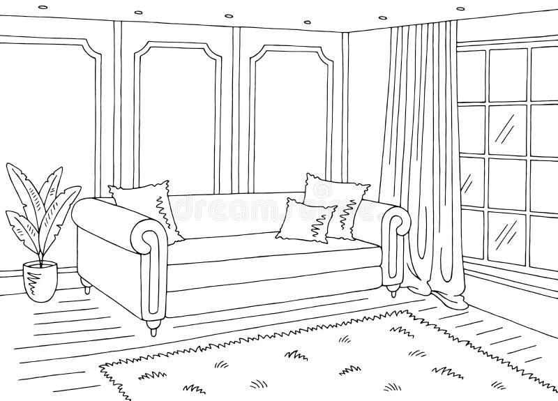 Vecteur intérieur classique à la maison blanc noir graphique d'illustration de croquis de salon illustration libre de droits