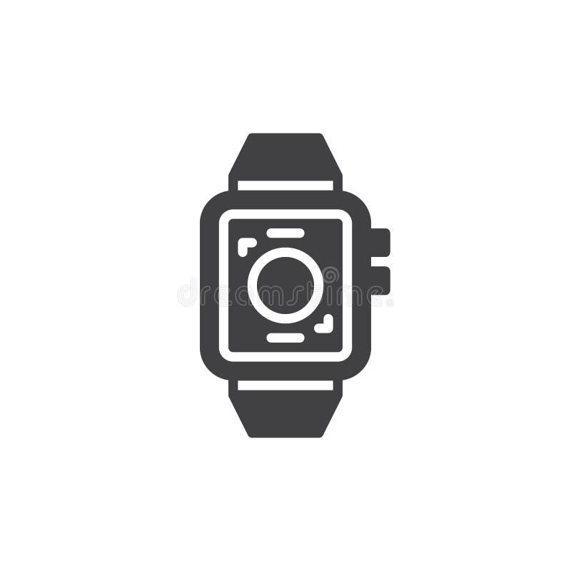 Vecteur intelligent d'icône de montre, signe plat rempli, pictogramme solide d'isolement sur le blanc illustration stock