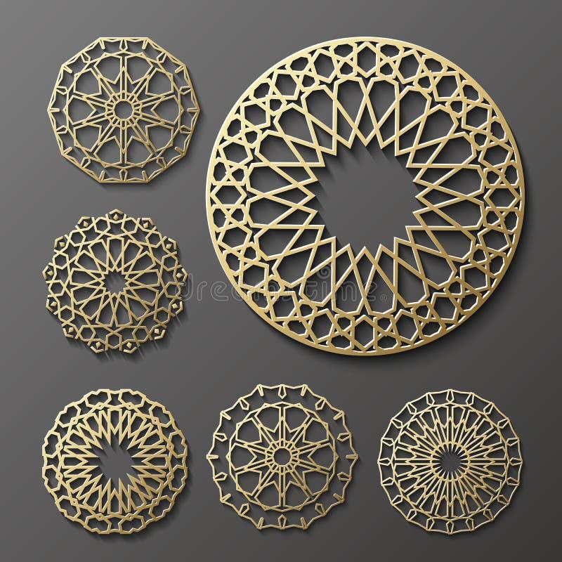 Vecteur islamique d'ornement, motiff persan éléments ronds de modèle de 3d Ramadan Ensemble géométrique de calibre de logo circul illustration stock