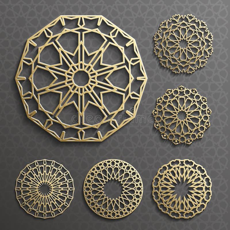 Vecteur islamique d'ornement, motiff persan éléments ronds de modèle de 3d Ramadan Ensemble géométrique de calibre de logo circul illustration de vecteur