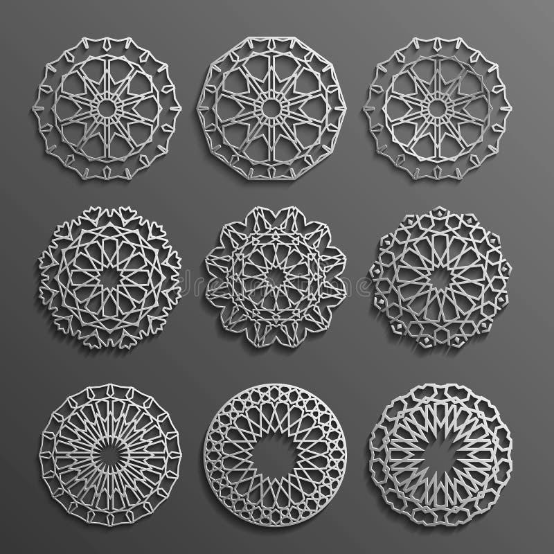 Vecteur islamique d'ornement, motiff persan éléments ronds de modèle de 3d Ramadan Ensemble géométrique de calibre de logo circul