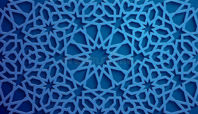 Vecteur islamique d'ornement, motiff persan éléments ronds islamiques de modèle de 3d Ramadan Ornamental circulaire géométrique illustration stock