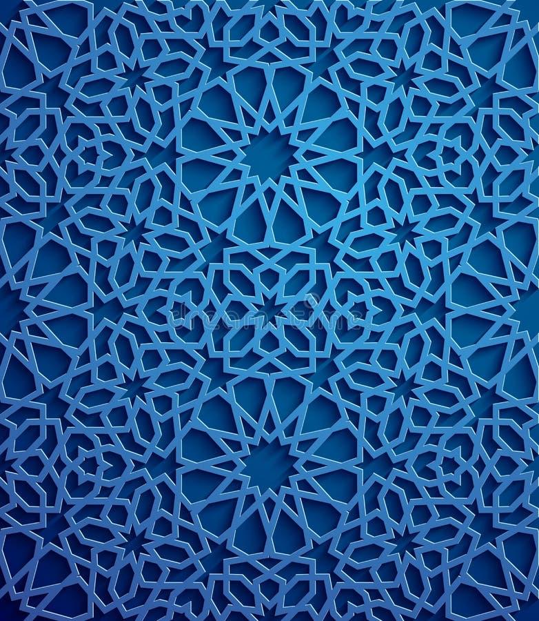 Vecteur islamique d'ornement, motiff persan éléments ronds islamiques de modèle de 3d Ramadan Ornamental circulaire géométrique illustration de vecteur