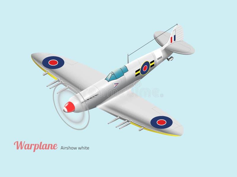 Vecteur isométrique d'avion de guerre argenté britannique de guerre mondiale image libre de droits