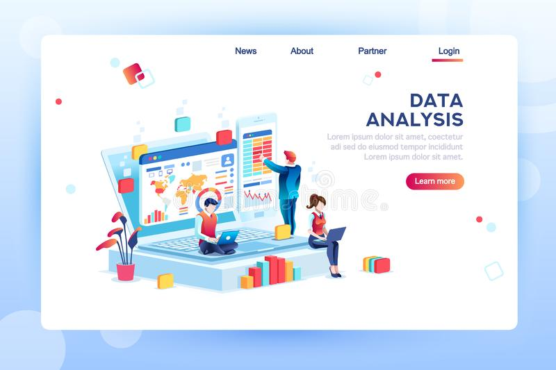 Vecteur isométrique de concept de moteur d'analyse de données illustration stock
