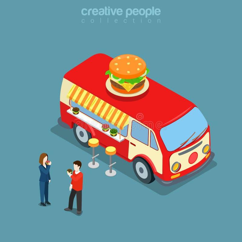Vecteur isométrique hippie de van 3d de nourriture rapide de rue de café d'hamburger plat illustration de vecteur