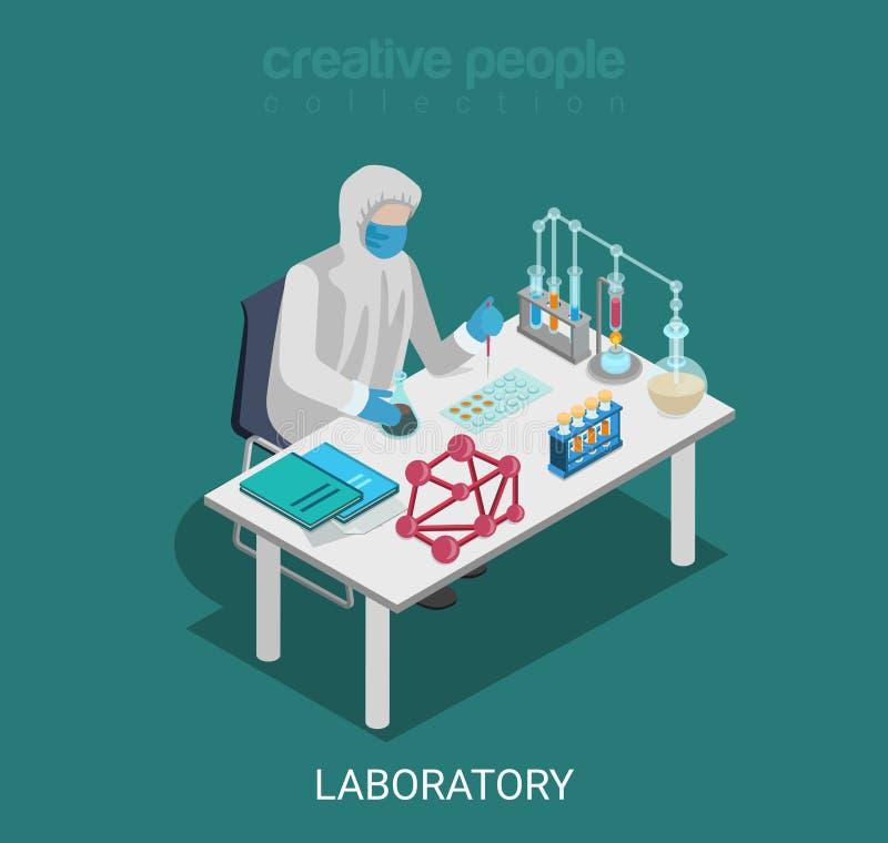 Vecteur isométrique plat chimique de recherches d'expérience de laboratoire de la Science illustration libre de droits