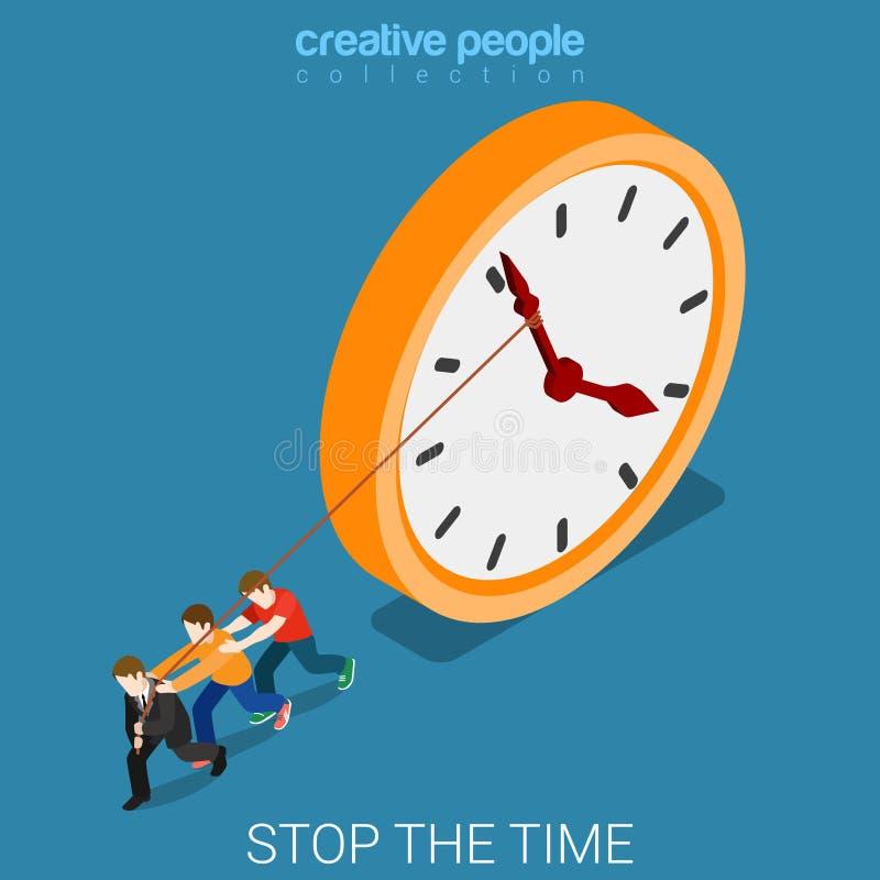 Vecteur isométrique plat 3d d'heures supplémentaires de temps d'arrêt d'horloge dure de travail illustration libre de droits