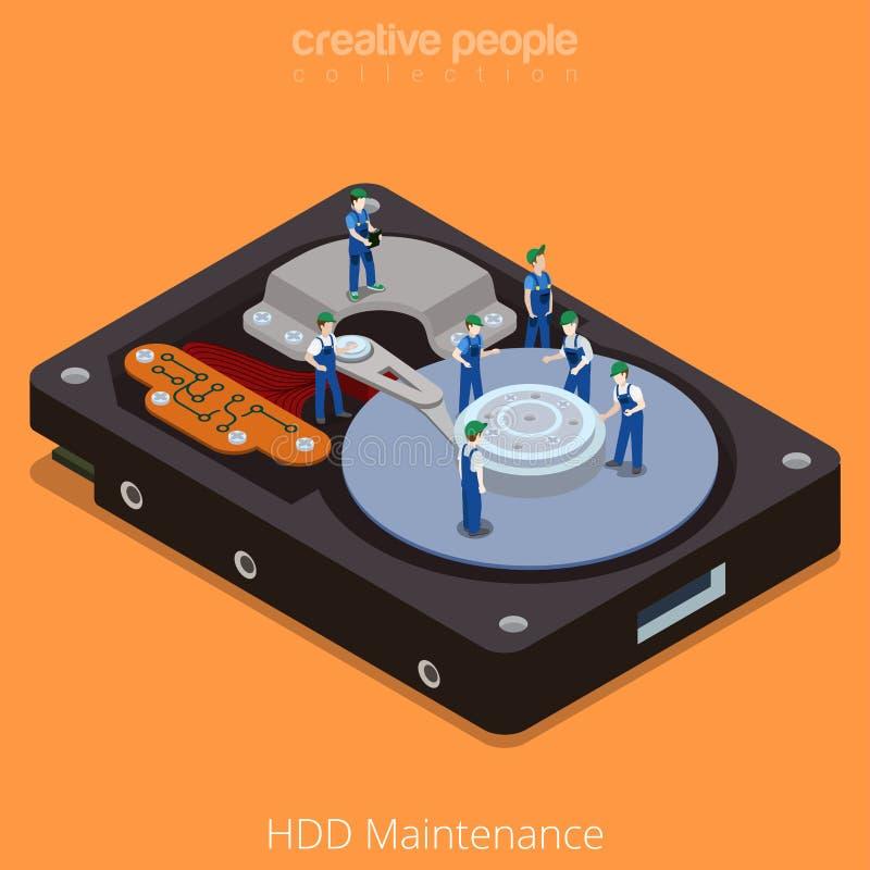 Vecteur isométrique plat 3d de technologie transformatrice d'entretien de HDD illustration stock