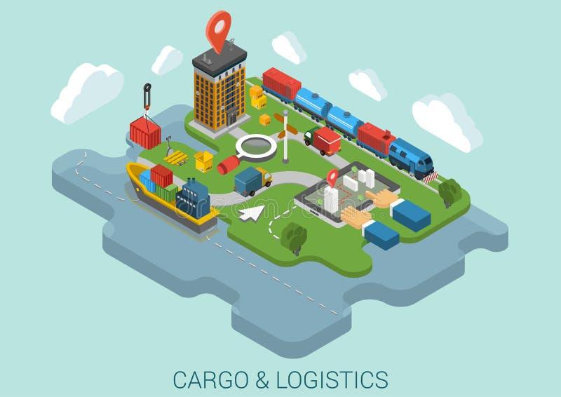 Vecteur isométrique plat de concept d'affaires de la livraison de la cargaison 3d illustration de vecteur