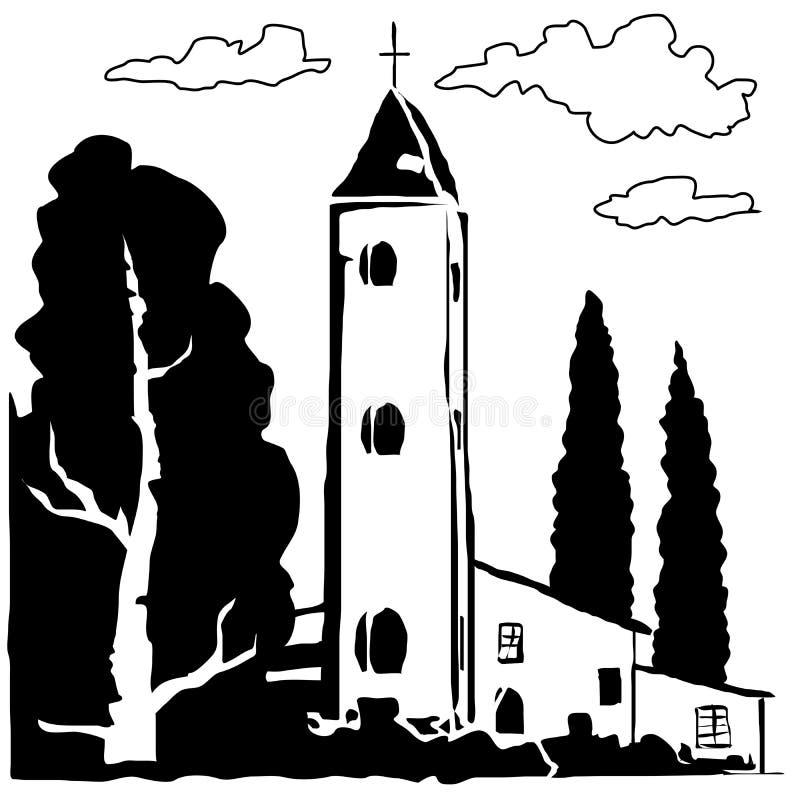 Vecteur italien de village illustration de vecteur