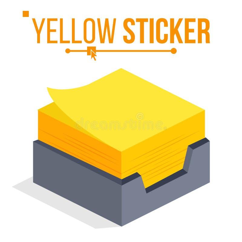 Vecteur jaune d'autocollant Autocollants de bureau pour des notes Note de papier isométrique Illustration d'isolement illustration libre de droits