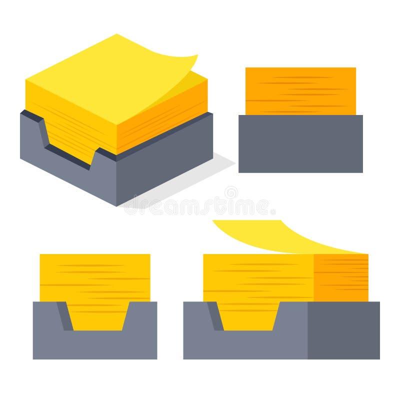 Vecteur jaune d'autocollant Pile de papier collante de notes Note de papier isométrique Illustration d'isolement illustration libre de droits