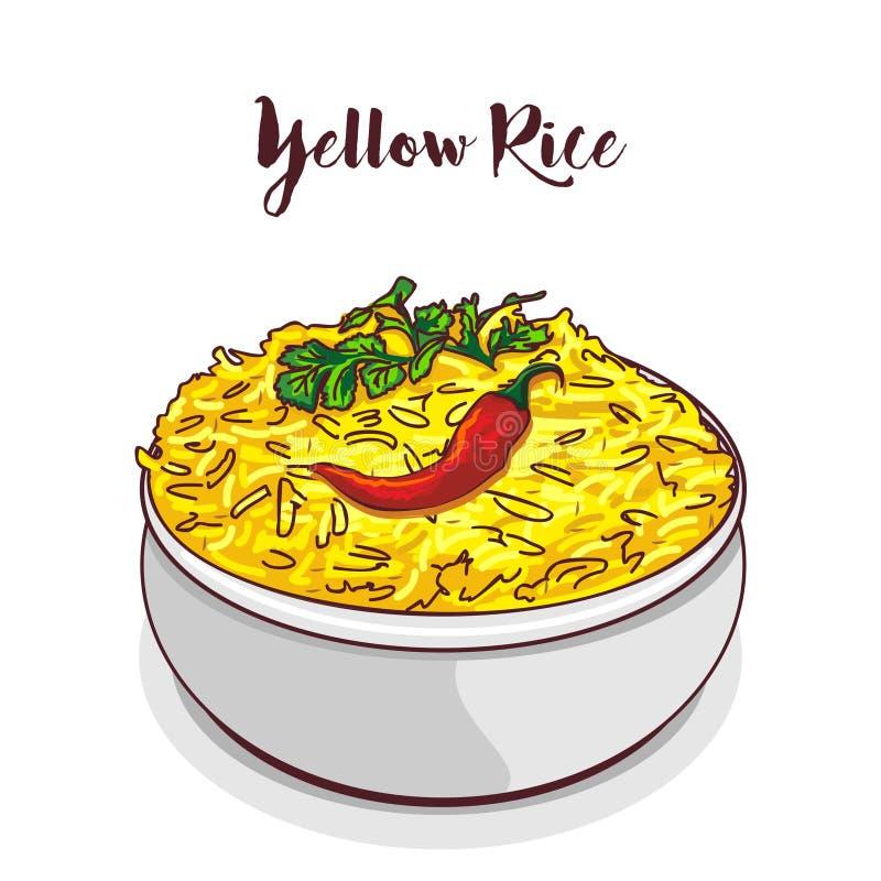 Vecteur jaune indien de riz illustration stock