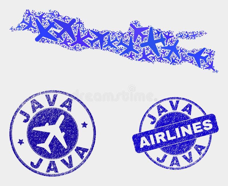 Vecteur Java Island Map de composition en aviation et timbres grunges illustration stock