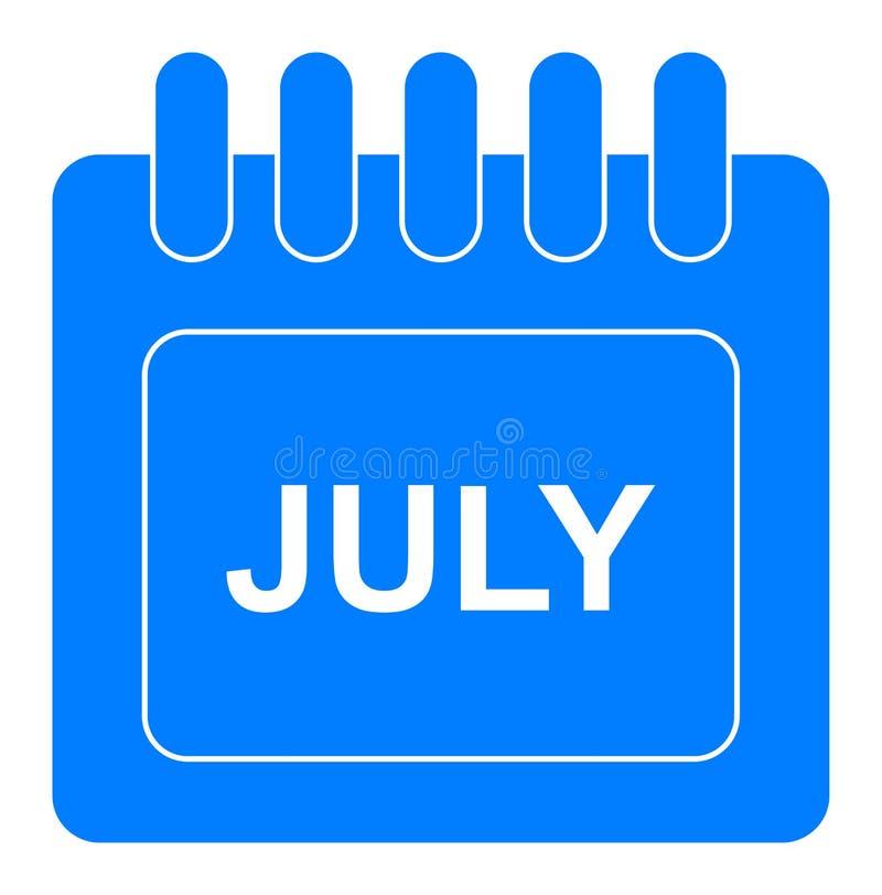 Vecteur juillet sur l'icône mensuelle de bleu de calendrier illustration libre de droits