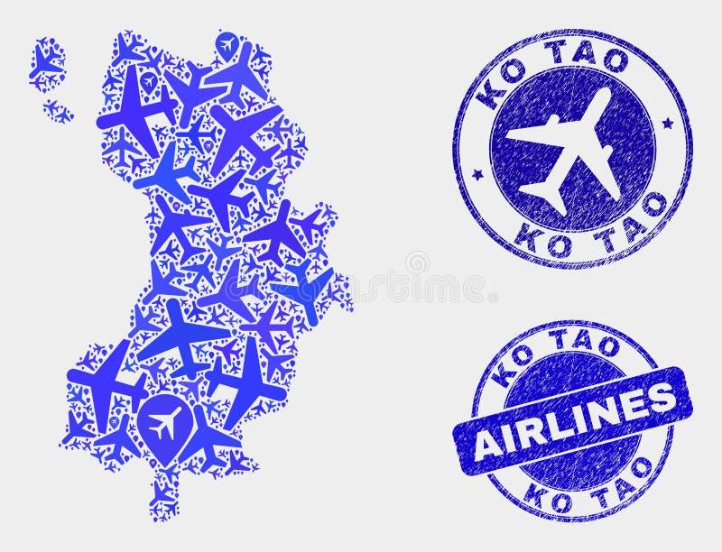 Vecteur Ko Tao Map de composition en avion et timbres grunges illustration de vecteur