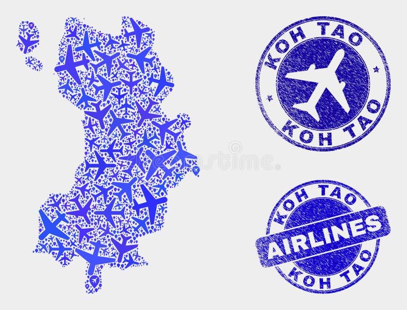 Vecteur Koh Tao Map de composition en avions et joints grunges illustration libre de droits