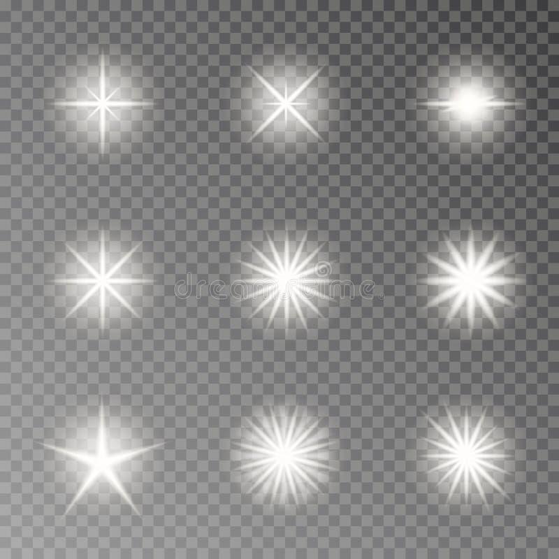 Vecteur léger instantané d'effet de caméra Étincelle de scintillement d'isolement sur le fond transparent Col de lentille d'éclat illustration de vecteur