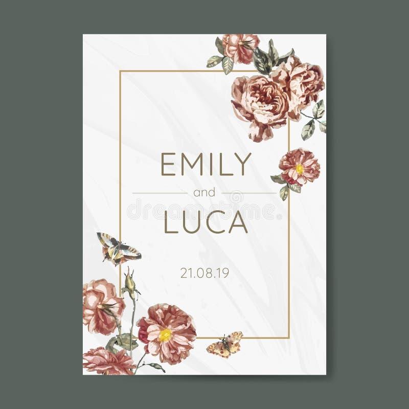 Vecteur l'épousant floral de maquette d'invitation illustration libre de droits