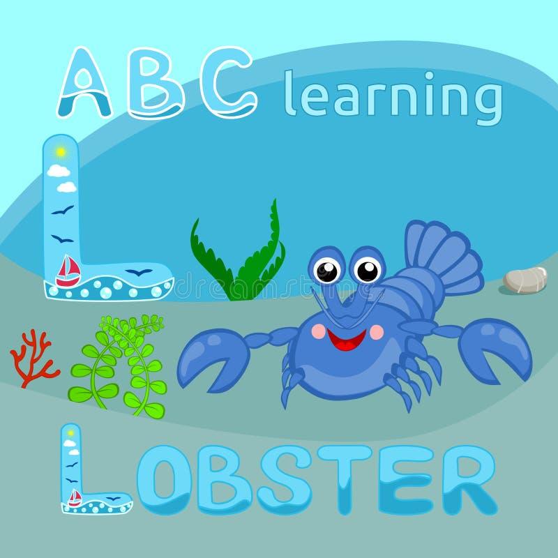 Vecteur L faune heureuse d'océan d'écrevisses de homard de lettre de personnage de dessin animé drôle bleu de vecteur, écrevisse  illustration libre de droits