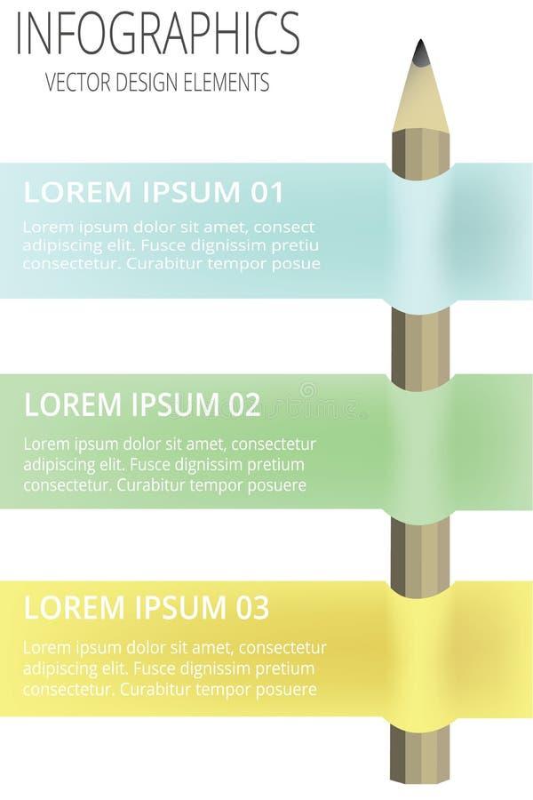 Vecteur - le calibre créatif avec la bannière de ruban de crayon peut être employé pour l'infographics illustration de vecteur