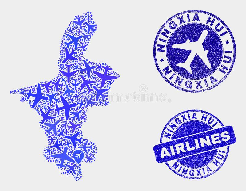 Vecteur le Ningxia Hui Region Map de mosaïque d'aviation et timbres grunges illustration libre de droits