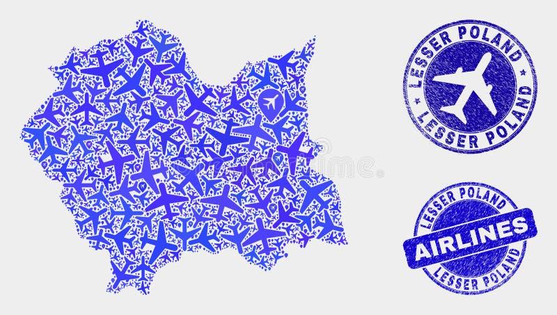 Vecteur Lesser Poland Voivodeship Map de composition en avion et timbres grunges illustration de vecteur