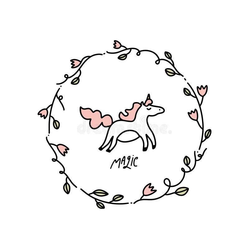 Vecteur licorne de schéma avec les éléments floraux de décor, cadre sur le fond blanc illustration libre de droits