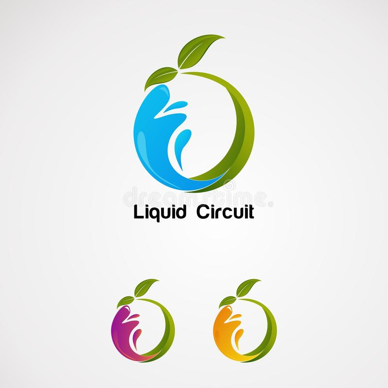 Vecteur liquide naturel de logo avec la feuille, l'icône, l'élément, et le calibre verts pour la société illustration libre de droits
