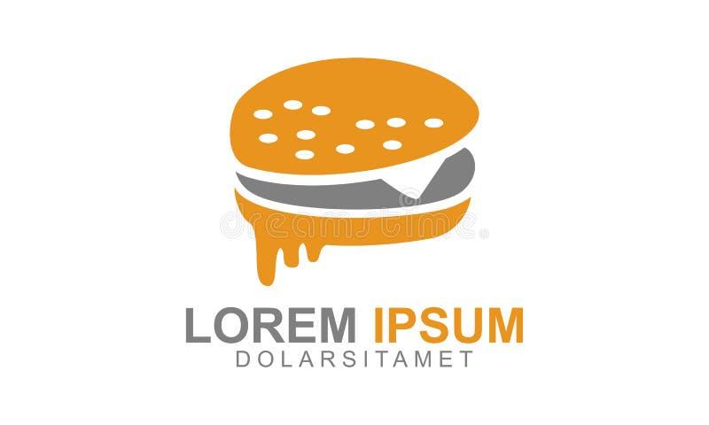 Vecteur Logo Design Represented Restaurant d'hamburger, aliments de préparation rapide, et bon savoureux illustration de vecteur