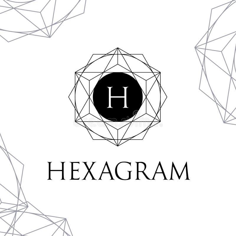 Vecteur Logo Letter polygonal H de Hexagram illustration de vecteur