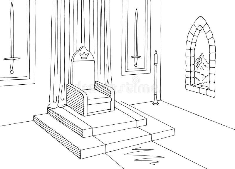 Vecteur médiéval blanc noir intérieur d'illustration de croquis de château graphique de pièce de trône illustration stock