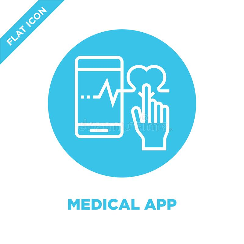 vecteur médical d'icône d'appli de la collection saine de la vie Ligne mince illustration médicale de vecteur d'icône d'ensemble  illustration stock