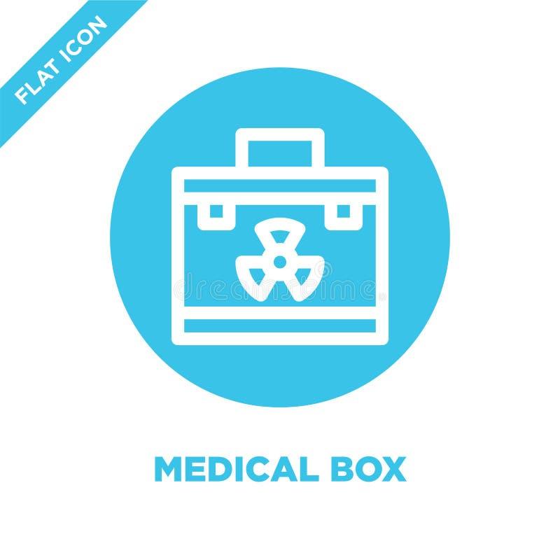 Vecteur médical d'icône de boîte Ligne mince illustration médicale de vecteur d'icône d'ensemble de boîte symbole médical de boît illustration libre de droits