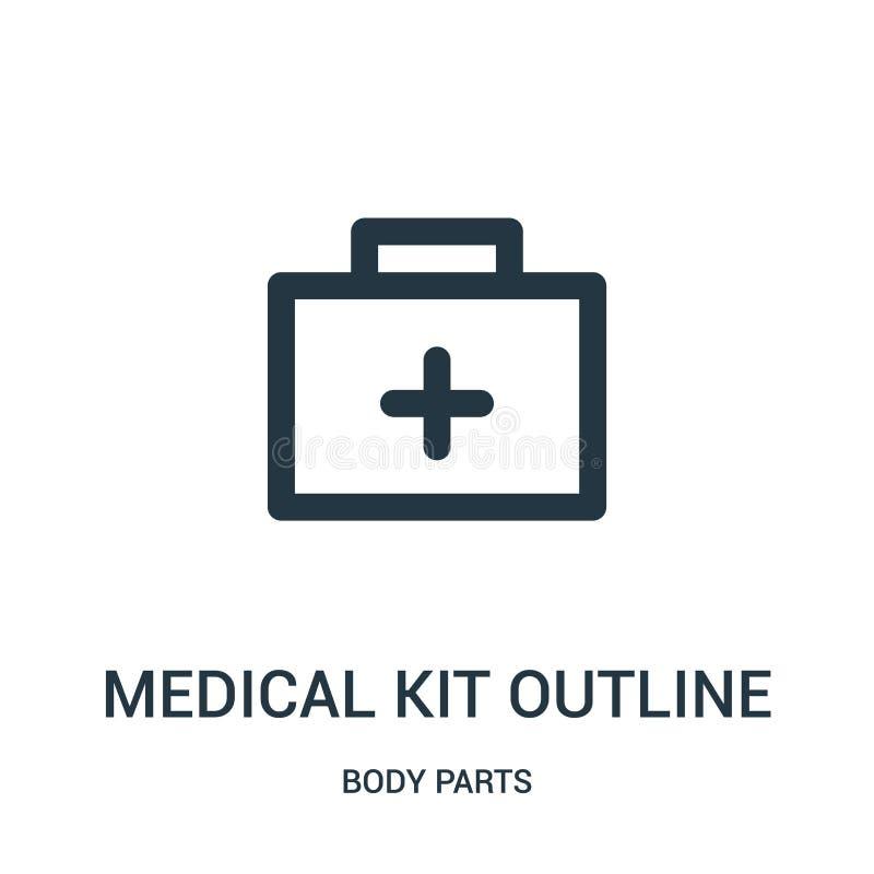 vecteur médical d'icône d'ensemble de kit de collection de parties du corps Ligne mince illustration médicale de vecteur d'icône  illustration de vecteur