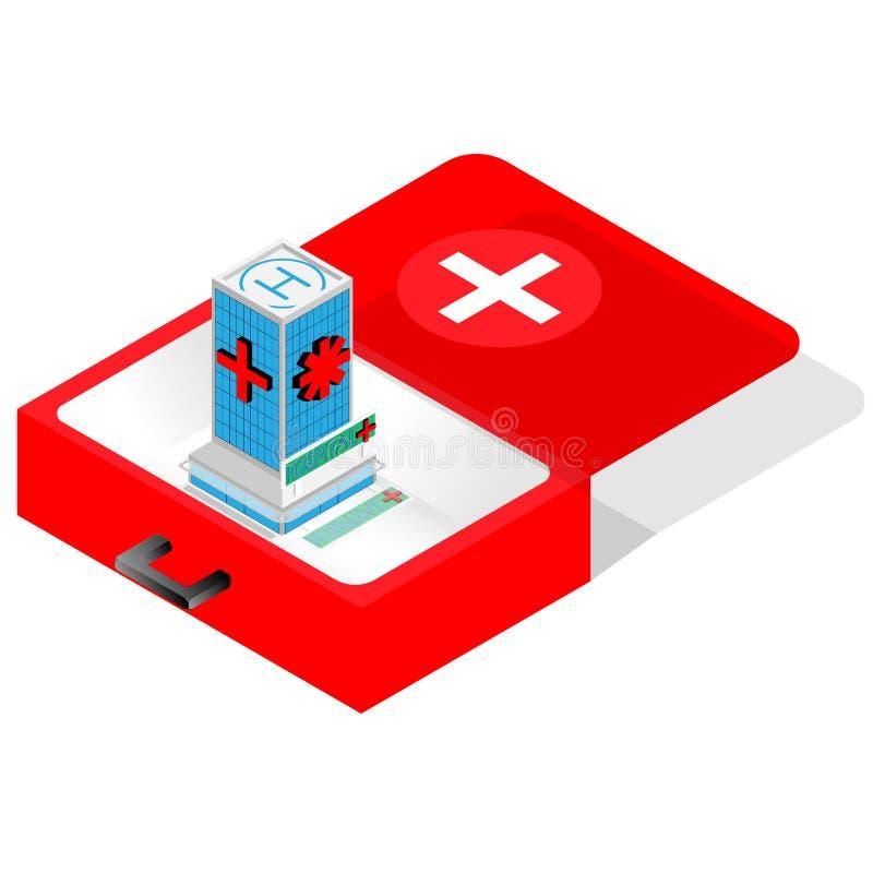 Vecteur médical de concept - téléphone portable avec la trousse de premiers soins illustration stock