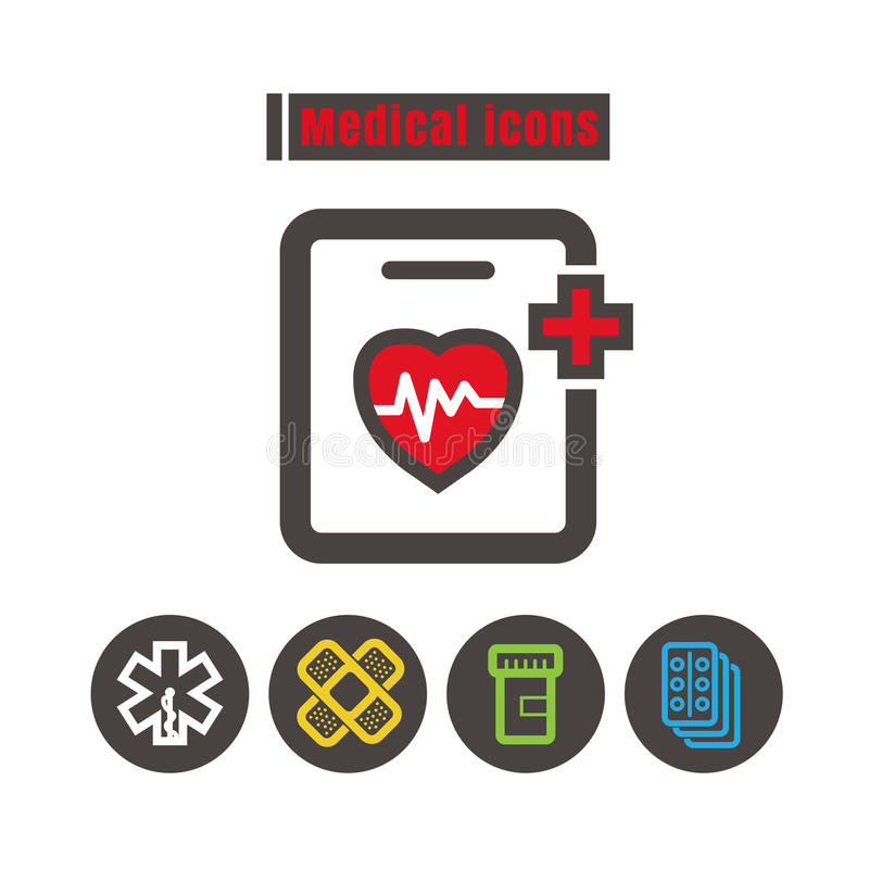 Vecteur médical de couleur d'icônes sur le fond blanc illustration libre de droits