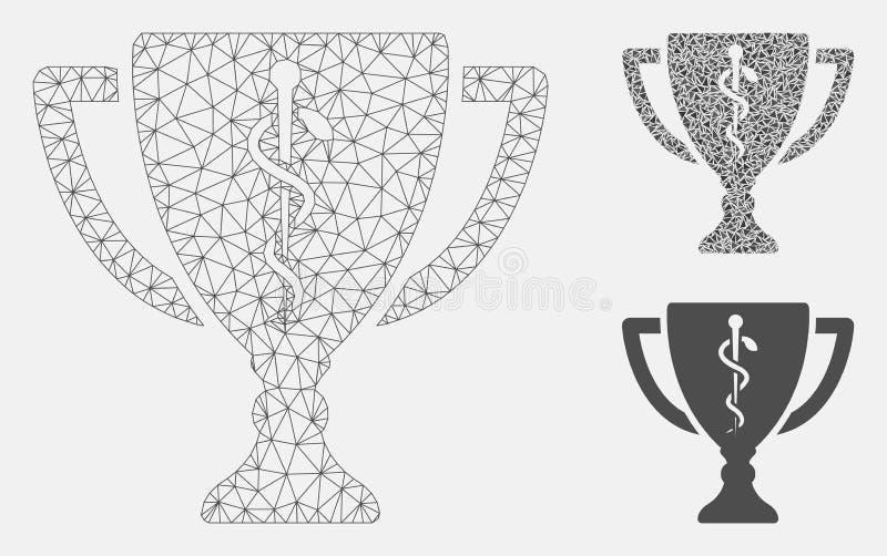 Vecteur médical Mesh Carcass Model de tasse de récompense et icône de mosaïque de triangle illustration de vecteur