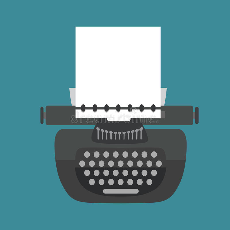 Vecteur Machine à écrire d'isolement de cru Rétro équipement Style plat illustration de vecteur
